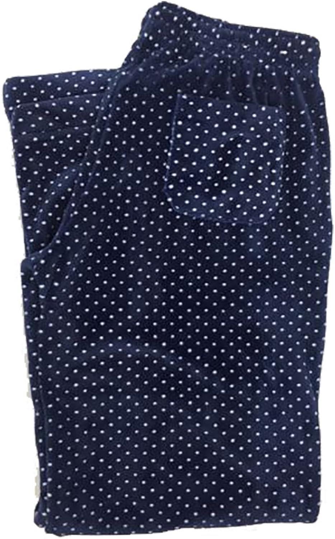 Daniel Buchler by Maiyan Women's Super Soft Plush Lounge Pants Navy Polka Dot, Medium