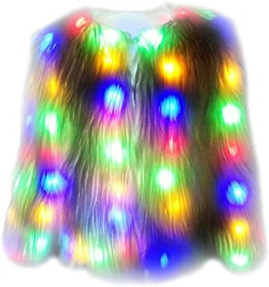 i-KindPec Soft Faux Fur Led Jacket Light up Winter Coat for Halloween Xmas Party Costume Plus Size 6XL