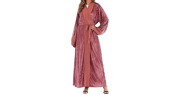 YYear Womens Arabia Pleated Loose Fit Muslim Middle East Cardigan Robes Maxi Dress