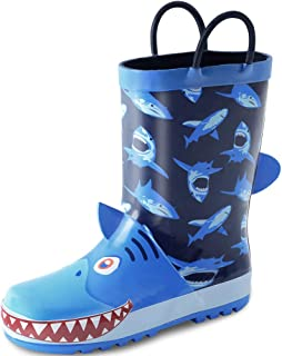 Kids Boy Rain Boots, Waterproof Printed Rubber Rainboots with Easy-On Handles for Toddler/Little Big Kids