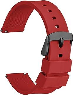 WOCCI Bracelets de Montres Silicone avec Boucle Noire, Remplacement Dégagement Rapide pour Femme Homme 14mm, 16mm, 18mm, 1...