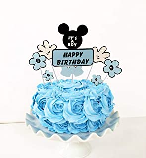 Set of 7 LaVenty Mickey Mouse Inspired Cake Topper It's a boy Cake Topper Baby Shower Cake Topper for Mickey Mouse Theme Baby Shower One Birthday Party Decor