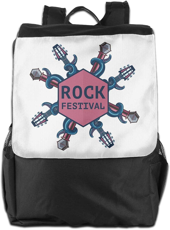 Rock Festival Sing Printed Boys Backpack Lightweight Casual Shoulder Bag School Daypacks