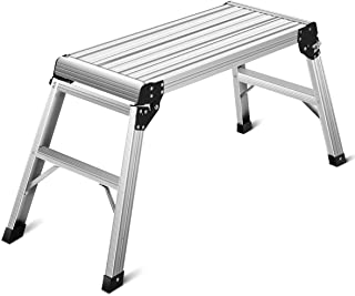 Giantex Work Platform Aluminum Step Ladder Drywall Safe CE Approved of Capacity 330 LBS Heavy Duty Portable Bench Folding Ladders Stool w/Non-Slip Mat (Silver)