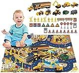 BeebeeRun 44PCS Veicoli da Cantiere Giocattolo Set,Giocattolo Bambino 3 Anni Ragazzi Ragazze,Camion Macchinine Giocattolo con Tappetino Giocattoli educativi per Bambini