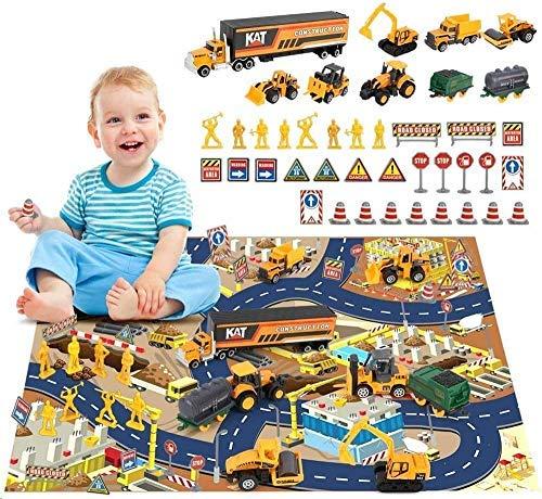 BeebeeRun Fahrzeuge Spielzeug Set für Kinder,Spielzeug ab 3 Jahren Jungen, Mädchen,Baufahrzeug LKW Autos Spielzeug mit Spielmatte(44 pcs)