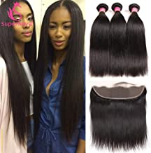 SuperNova Hair Straight 3 Bundles with 13×4 Frontal Brazilian Ear to Ear Lace Frontal Closure Human Hair Natural 9A Grade Unprocessed Natural Color for Black Woman (14 16 18+12 Frontal)