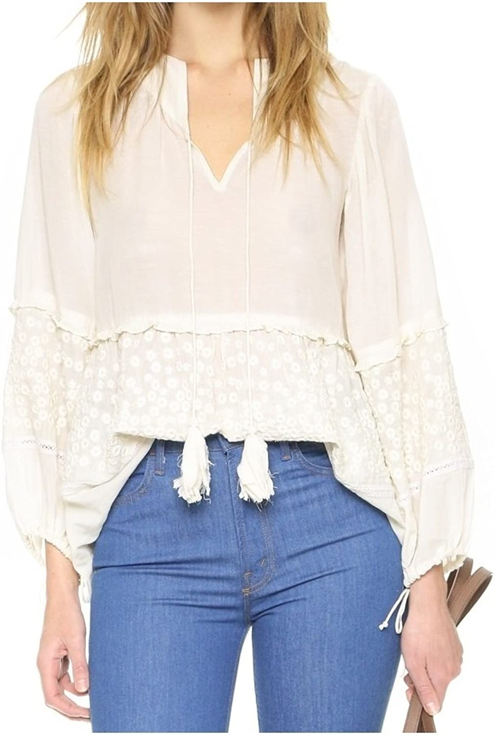 Pepin Women's Ava Romantic Floral Embroidered Voile Blouse Tunic in Eggshell