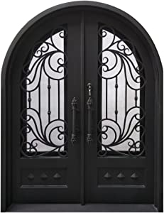 ALEKO IDR6281BK08 Iron Round Top Dimensional-Panel Dual Door with Frame and Threshold 62 x 81 Inches Matte Black