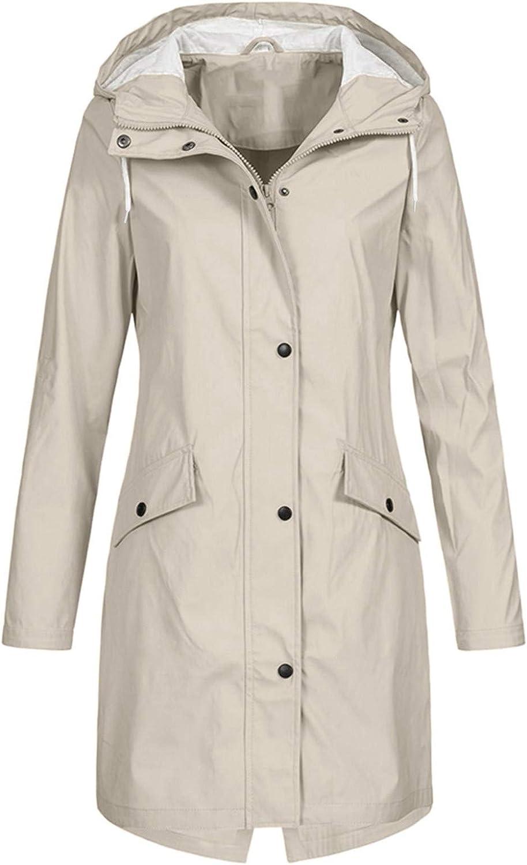 Lightweight Rain Jacket Women Long Casual Raincoat with Hooded Outdoor Hoodie Waterproof Breathable Rain Jackets (Beige, Medium)