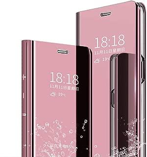 جراب TenYll لهاتف Samsung Galaxy M20، غطاء عاكس قلاب من جلد البولي يوريثان غطاء واقٍ مغناطيسي [جراب ذكي] [جراب حامل] [حماية كاملة للجسم]، مع غطاء شفاف ذاتي التشغيل/الإيقاف Samsung Galaxy M20 روز جولد