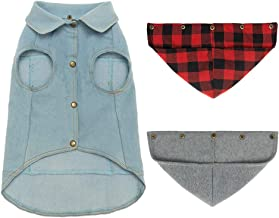 Mihachi Dog Jean Jacket with 2 Detachable Hats - Blue Pet Vest Coat for Small Dogs