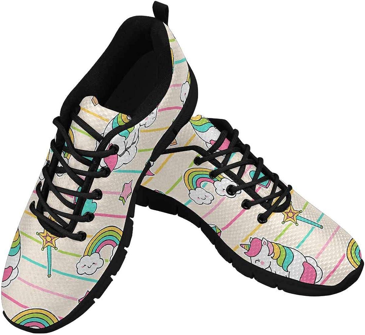 InterestPrint Unicorn, Rainbow, Ice Cream Women's Walking Shoes Lightweight Casual Running Sneakers