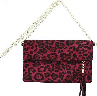 Elegant Leopard Crossbody Purse Small Tassel Shoulder Envelope Bag Clutch Handbag with Chain Strap for Women Teen Girls