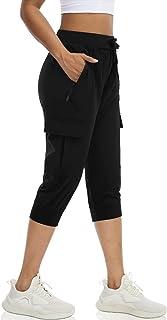 DIBAOLONG Womens Hiking Capri Pants Lightweight Quick Dry Cargo Joggers Athletic Workout Sweatpants Zipper Pockets