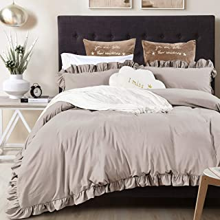 Queen's House Vintage Washed Cotton Duvet Cover Bedding Set Taupe More Grey Cal King Size-Shabby Ruffle