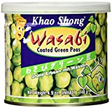 Khao Shong Geröstete grüne Erbsen mit Wasabi, knackige Erbsen im scharfen Teigmantel, fettärmere Alternative zu Nüssen, mittlere Schärfe, 12 x 140 g Dose