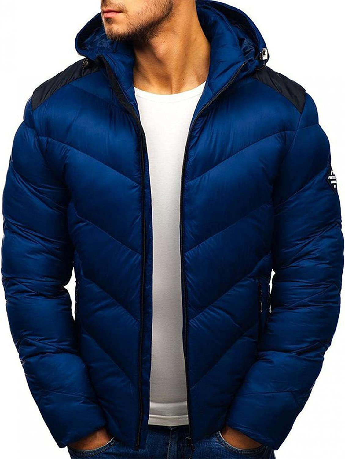 PHSHY Mens Hooded Puffer Jackets Winter Thermal Thicken Bubble Parka Coats Lightweight Packable Outwear with Pockets