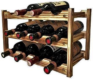 Anberotta 木製 ワインラック ワインホルダー ワイン シャンパン ボトル ウッド 収納 ケース スタンド インテリア ディスプレイ 2,3,4段から選べる W74 (12本用収納・3段/アンティークブラウン)
