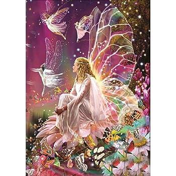 30 * 40 cm 15,7 pouces Moon Wings Girl 5D Diamond Painting Kit Bricolage en strass Broderie en croix Entier complet Arts Artisanat pour d/écoration murale /à la maison 11,8