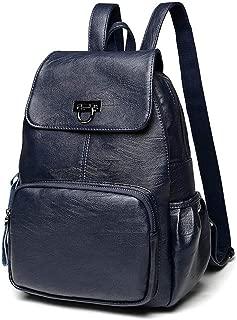 Women Backpack Purse IBFUN Fashion Pu Washed Leather Small Rucksack Shoulder Bag Women Girls Ladies Travel bag Blue