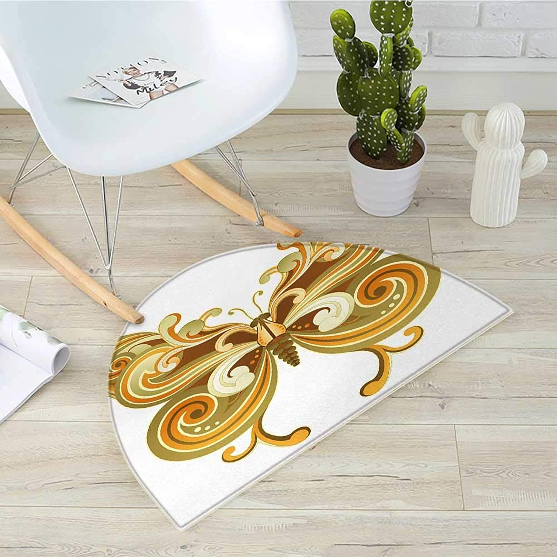 Modern Half Round Door mats Macro Butterfly Figure Spiritual Wings Life Symbol Animal Illustration Bathroom Mat H 39.3  xD 59  Sepia Marigold Cinnamon
