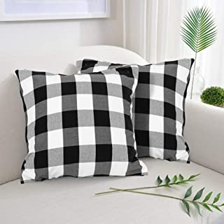 """Farmhouse Christmas Decor Pillow Covers, Black and White Buffalo Checkers Plaids Cotton Throw Pillow Covers, Soft Cushion Cover Decorative Pillowcase for Bed/Sofa/Chair/Couch, 18""""x18""""(45cm), Set of 2"""