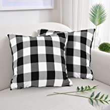 """Farmhouse Decor Pillow Covers, Black and White Buffalo Checkers Plaids Cotton Throw Pillow Covers, Soft Cushion Cover Decorative Pillowcase for Bed/Sofa/Chair/Couch, 18""""x18""""(45cm), Set of 2"""