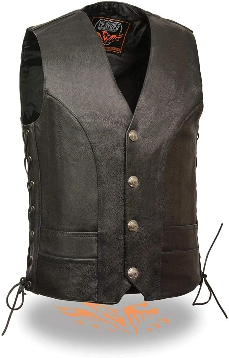 Milwaukee Leather Mens Premium Side Lace Vest with Buffalo Snaps - 36