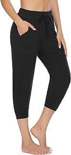 COOrun 3/4 joggingbroek voor dames, sportbroek, stretch, capri, sweatpants, fitness, trainingsbroek met zakken