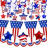 Quantity: Patriotic Party Decoration includes 12 pcs Patriotic Hanging Swirl Decorations (including 10 single swirls, 10 patriotic cutouts, 2 star swirls), 32.8' long American Flag Pennant Banner (with 20 triangle flags), Patriotic red white and blue...