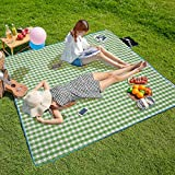 Three Donkeys Extra Large 79''x79'' Picnic Blankets, Waterproof & Easy Folding for Outdoor Picnics, Beach, Camping (Beige and White)