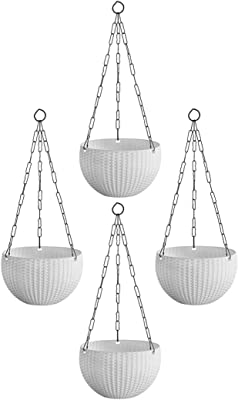 Home Decor Stuff Balcony Hanging Planters | UV Treated Plastic Pots with Hanging Chains (Pack of 4) White Color | Size (8 inches Diameter)