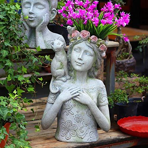zenggp Hausgarten Kunst Blumentopf Kopf Vase Dekor Mädchen Und Katze Blumentopf Sukkulenten Blumentopf,Girl