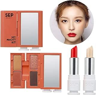 [SEP BEAUTY] My MOTT Multi Makeup Kit 02 Cheer Me - Handy Compact Makeup Kit with Mirror / 4 Colors of Eye Shadow (Eyeliner)+ Face Highlighter+ Lip & Cheek Stick/Juicy Fruity Nude Orange Color