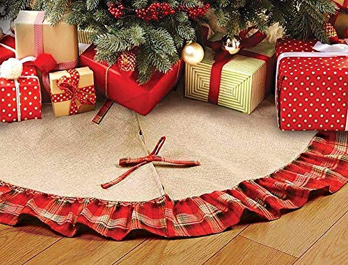 48 inches Burlap Christmas Tree Skirt, Large Traditional Linen Christmas Decorations Apron Christmas Tree Skirts with Red Black Plaid Ruffle Edge Border
