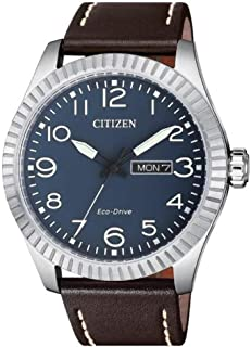 Citizen BM8530-11L Eco-Drive Brown Leather Round Analog Watch for Men, Blue Dial