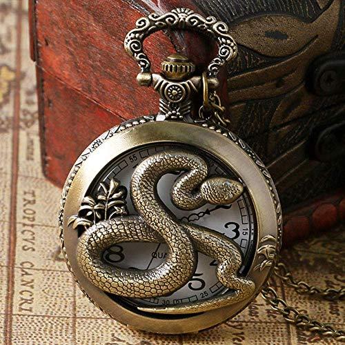 SHKUU Reloj Bolsillo Vintage Bronce clásico Vintage Hueco Zodiaco Chino Serpiente Reloj Bolsillo Cuarzo Profundo Collar Colgante Regalo para niño