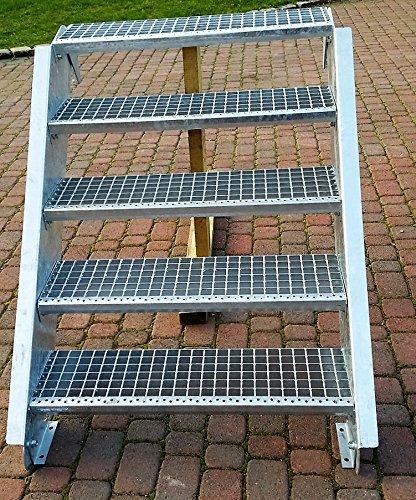 Stahltreppe Aussentreppe Wangentreppe verzinkt 4 Stufen GH 55-85 cm 4-150-Z