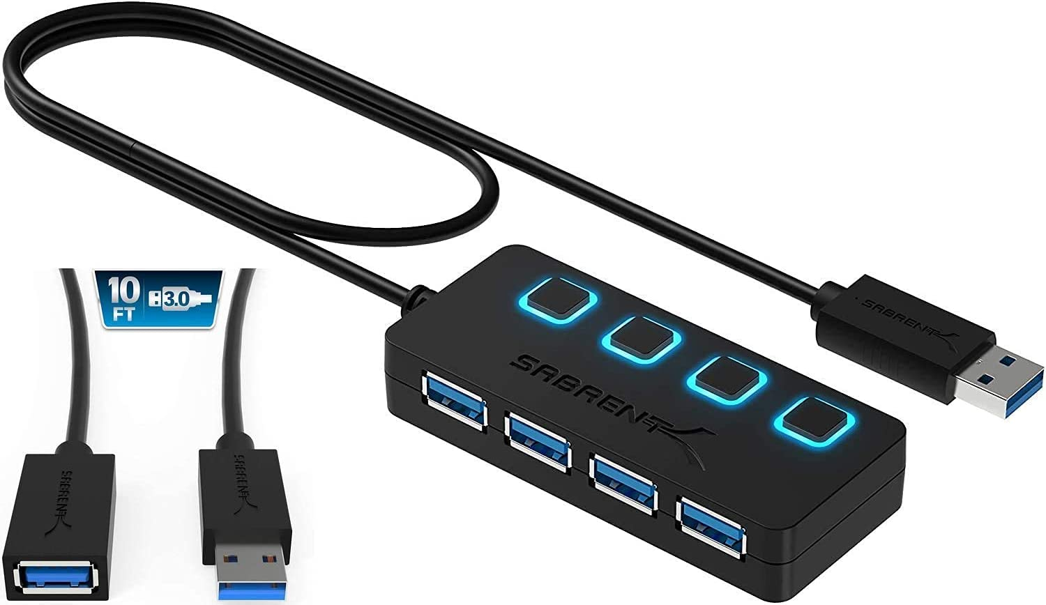 Sabrent 4-Port USB 3.0 Hub + 10 Ft 22AWG USB 3.0 Extension Cable - A-Male to A-Female in Black