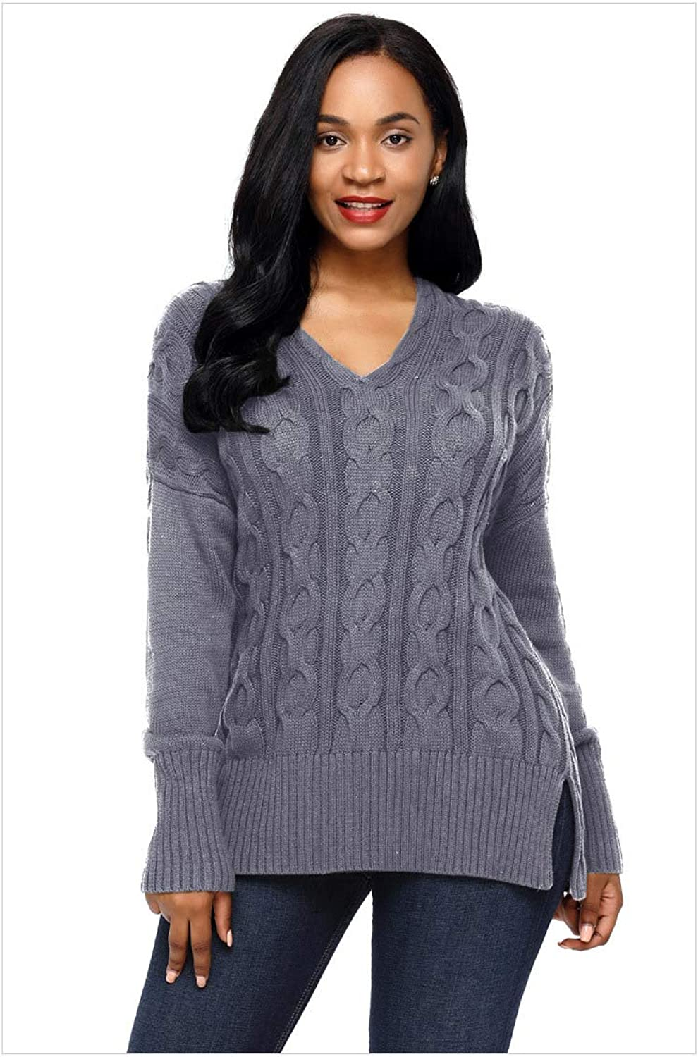 ADLISA Women's Over Size Twisted Knitted Long Sleeve Vneck Versatile Long Sweater Crop Tops
