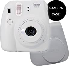 Fujifilm Instax Mini 9 Instant Camera - Renewed with New Instax Mini 9 Groovy Camera Case   Matching Colors for Case and Mini 9 Camera + Amazing Cleaning Cloth (Smokey White)