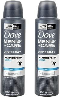Dove Men+Care Stain Defense Antiperspirant Deodorant Dry Spray, Cool, 3.8 oz (Pack of 2)