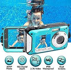 Caméra sous-marine 2.7K Full HD 48.0 MP Appareil photo numérique caméscope Caméscope Selfie Double Écran Caméra étanche pour la plongée en apex 10 pi sous l'eau