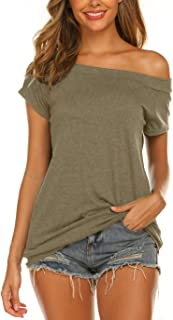 Halife Women's Long Sleeve Boat Neck Off Shoulder Blouse Tops