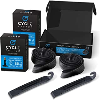 "Cycle Factor 26"" Mountain/Hybrid Bike Inner Tube 2 Pack 26x1.75/2.3 Inch Replacement + 2 Tire Levers, 35mm Schrader Valve ..."