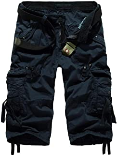 AngelSpace Men's Rugged Wear 3/4 Pants Casual Bechwear Luxury Short Pants