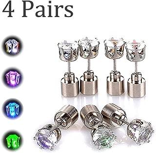 LED Light Up Earrings, [4 Pairs] Light up Glowing LED Earrings Studs Party Dress Up for Kids Men/Women/Girlfriend/Boyfriend/Him/Her - (Green+Blue+Purple+White)