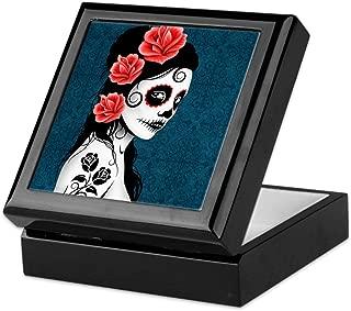 CafePress Day of The Dead Girl Blue Keepsake Box, Finished Hardwood Jewelry Box, Velvet Lined Memento Box