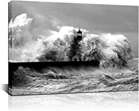Biuteawal - Black and White Wall Art Lighthouse in The Storm Canvas Print Ocean Wave Picture Painting for Home Office Living Room Decoration Gallery Wrapped Ready to Hang